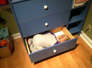 Peter asleep in the drawer