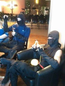 Ninjas show up at our church's knitting group! :)